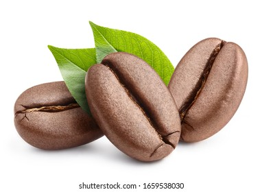Fresh roasted coffee beans with leaves, isolated on white background