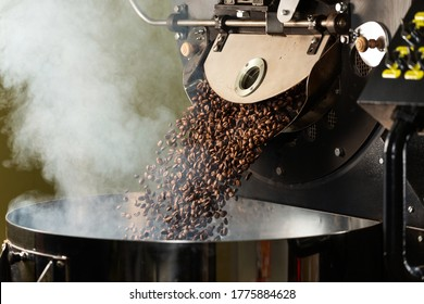 Fresh Roasted Natural Coffee Beans Cascading out of Industrial Coffee Bean Roaster Machine Inside the Coffee Shop