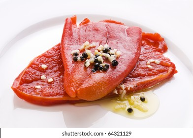 Fresh roasted red pepper with garlic and olive oil