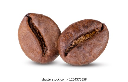 Fresh roasted two coffee beans isolated on white background