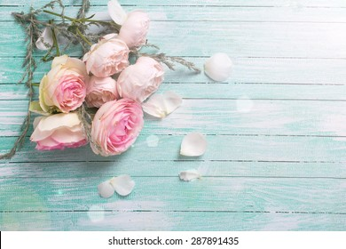 Fresh roses flowers  in ray of light on turquoise painted wooden background. Selective focus. Place for text.