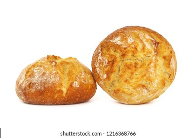 Fresh round bread isolated on white