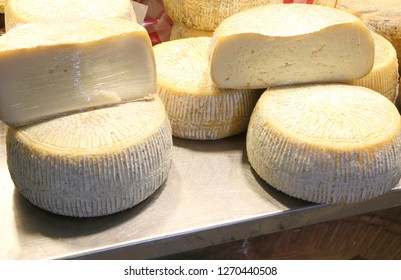 fresh round shaped cheese made with fresh milk of goat and sheep in the mountain dairy