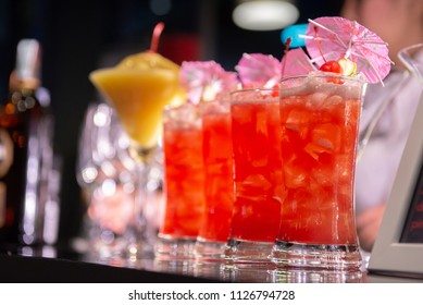 Fresh row of red cocktail