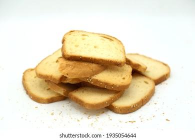 Fresh Rusk Slices isolated on white background