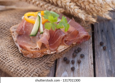 Fresh rye bread with ham