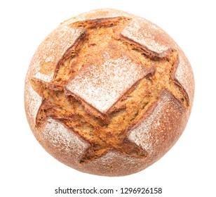 fresh rye bread on a white background
