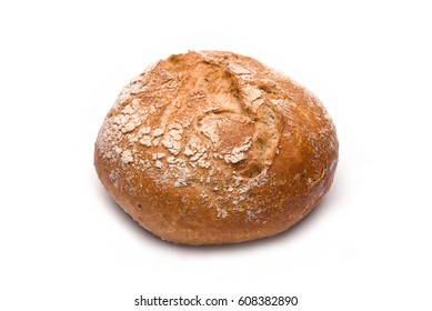 Fresh rye roll isolated on white
