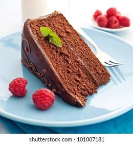 fresh sacher cake with raspberry