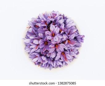 Fresh Saffron Flower in bowl