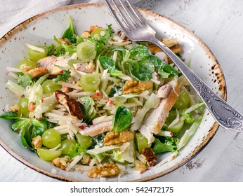 Fresh Salad with chicken, apples, celery, grapes. View from above