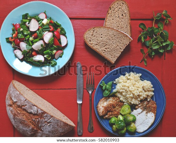 Fresh salad with chicken and brussels sprouts