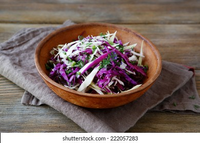 Fresh salad with chopped cabbages, healthy food