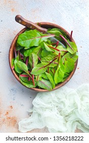 Fresh salad of green chard leaves or mangold