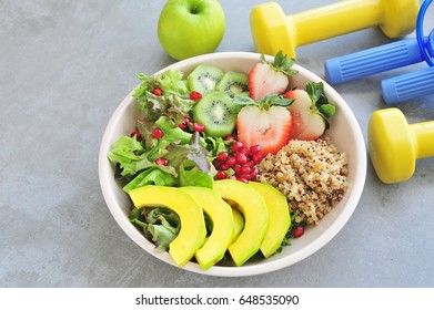 Fresh salad, healthy food. Fitness and health concept.