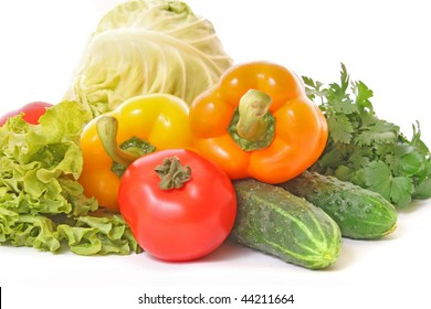 Fresh salad ingredients closeup and isolated