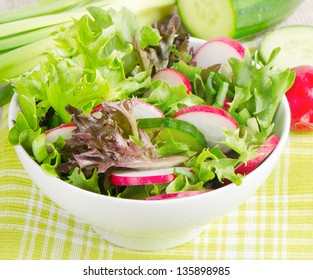 Fresh salad with lettuce, cucumber  and radish