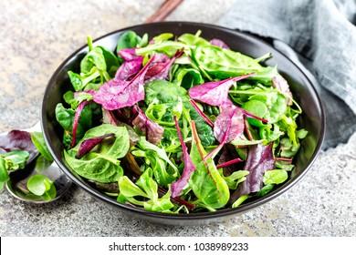 Fresh salad mix of baby spinach, arugula leaves, basil, chard and lambs lettuce. Salad bowl, healthy food