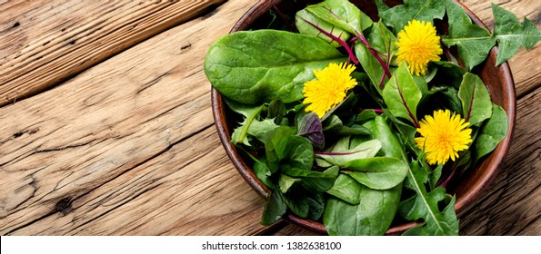 Fresh salad with mixed greens on wooden background.Healthy food.Vegetable salad with fresh lettuce