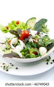 fresh salad with mozzarella and tomatoes