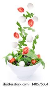 Fresh salad over white background