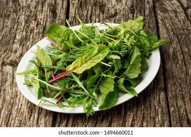 Fresh salad plate with mixed greens arugula, mesclun, mache on dark wooden background close up. Healthy food. Green meal.
