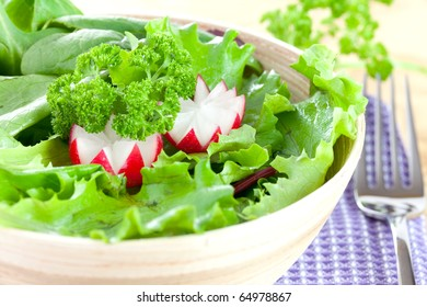 fresh salad with radish closeup