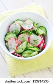 fresh salad with radish and cucumber