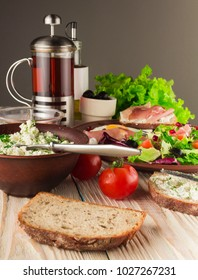 fresh salad with tomato, egg and toast
