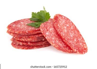 fresh salami isolated on white background