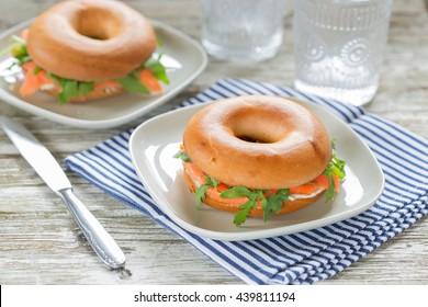 fresh salmon bagel