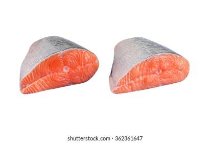 Fresh salmon filet, isolated on white background