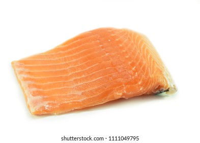 Fresh salmon fillet isolated on white background
