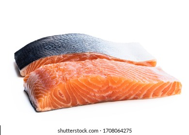 Fresh  salmon fillet isolated on white