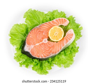fresh salmon fillet. Isolated on a white background.