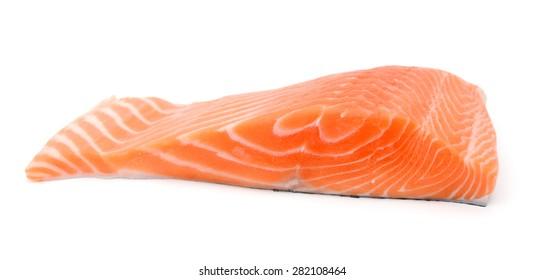 fresh salmon fillet isolated on white
