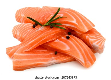 fresh salmon fillet on isolated white