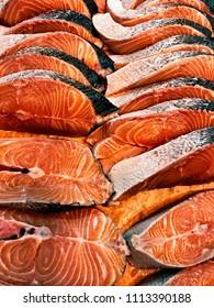 Fresh salmon on the cutting board