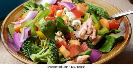 fresh salmon salad on plate