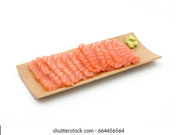 fresh salmon sashimi fillet slices isolated on white background