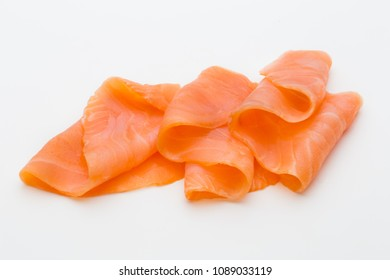 Fresh salmon slice and spice on the white background.
