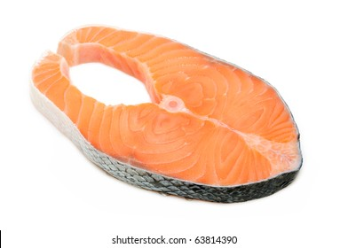 Fresh salmon steak in isolated white background