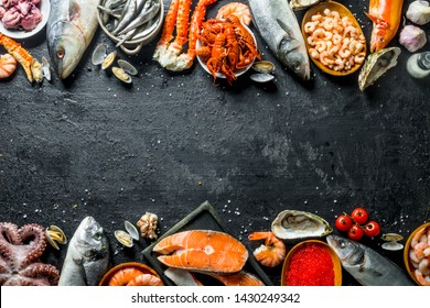 Fresh salmon steak with seafood. On black rustic background