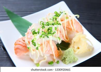 fresh salmon sushi