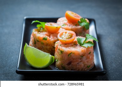 Fresh salmon tartare with coriander and lime