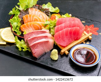 Fresh Salmon, Tuna and Hamaji  Raw Sashimi - Japanese food style