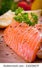 Fresh salmon with vegetables,healthy food