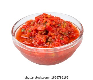 Fresh salsa dip isolated on white background. Recipe: tomatoes, onions, cilantro, hot jalapeno peppers or chilli pepper and salt. Traditional Mexican food appetizer.