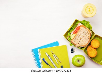 Fresh sandwich and apple for healthy lunch in the plastic lunch box