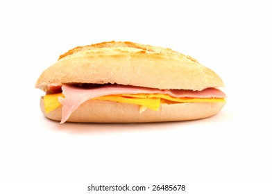 Fresh sandwich with ham and cheddar cheese. Copy space on bottom